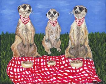 The Meerkat Picnic 8 x 10 Original Canvas Painting Whimsical Art