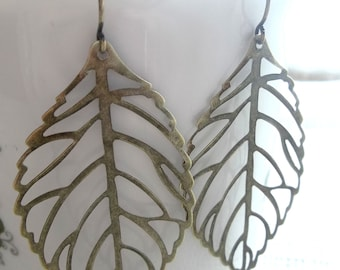 Antiqued Brass Leaf Earrings - simple and perfect for everyday wear