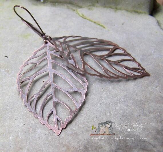 Ghost Leaves - Filigree Leaves Leaf Earrings Autumn Copper Large Light-weight etsy earrings under 20
