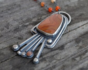 tulip necklace v2 - dryhead agate and sterling silver