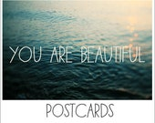 Postcards - Single Card - Blank Cards - You Are Beautiful - Summer - Beach - Quote - Text  - Water