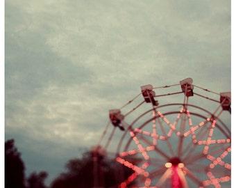 Fair Photograph - Ferris Wheel Photograph - Fine Art Photography - Summer Print - Fair Print - Treetop View - Carnival Art - Home Decor