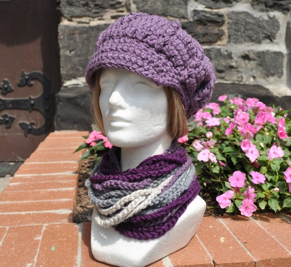 Newsboy Crocheted Hat and Matching Rope Scarf - Dusty Purple - Winter Accessories