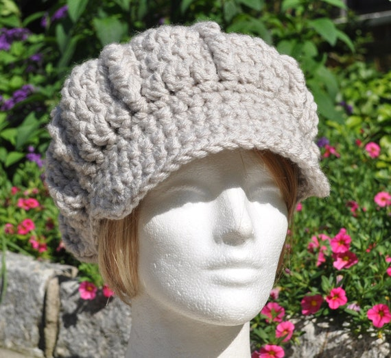 Women's Crochet Hat with Brim - Linen Colored Newsboy Hat - Women's Winter Accessories