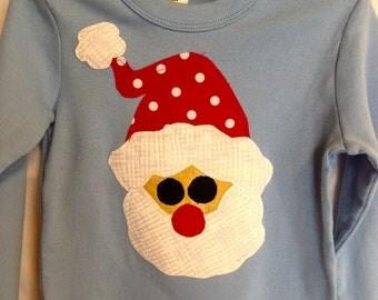 Toddler Boys Christmas holiday Santa applique long sleeved shirt   READY TO SHIP in Blue