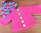 American Girl DOLL SWEATER in bright pink and inchworm