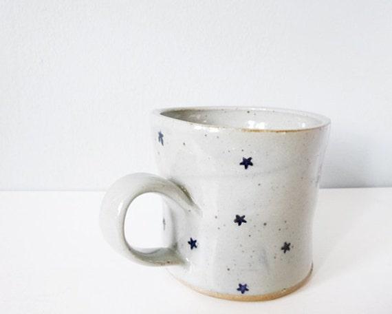 Handmade Modern Coffee Mug Stars Grey Blue By Shopwhimandvigor