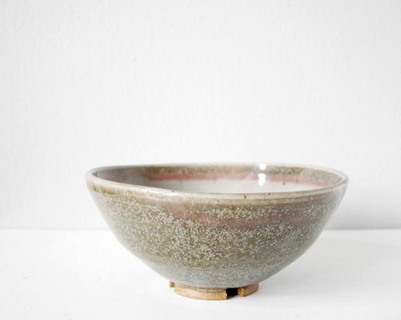 Beautiful bowl green pink grey pottery with carved foot - handmade modern ceramic dish