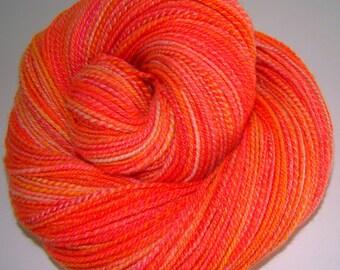 Solar Flare - Handdyed/handspun Domestic Wool 64s Yarn 285yds