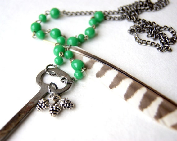 Forest Dweller Necklace, antique skeleton key, silver pine cones, vintage chains. hardware, eco friendly fashion, gift under 50