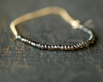 Smoky Quartz Beaded Bracelet, Mystic Sparkle Gems, 14k Gold Filled Chain, Sparkly Gem Bracelet, Delicate Bracelet, Layering Jewelry