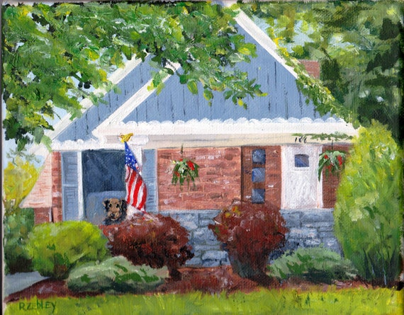 Cute House portrait painting, 8 x 10, oil on canvas