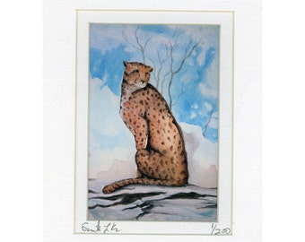Snow Cat Watercolor painting print Number 1 of 250