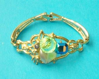 Vintage 1980s S&G Rhinestone Bling Gold Glamour Bracelet