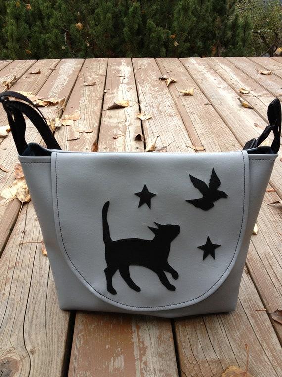 Cat, Stars and Crow Gray Vinyl Purse