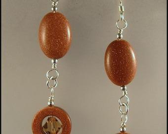 FREE SHIPPING - Goldstone & Sterling Silver Dangle Earrings