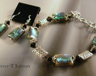 FREE SHIPPING - Abalone and Sterling Silver Bracelet Set