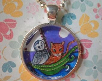 Owl and the Pussycat art necklace gift for girls women whimsical art jewelery glass tile pendant folk art jewelery