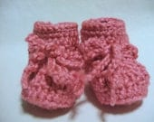 Newborn to 3 months size crocheted Strawberry Pink baby booties