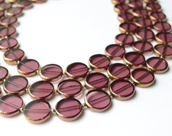 CLEARANCE- The Charlotte- Purple and Gold Glass Necklace