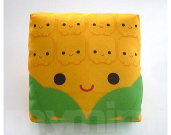 Decorative Pillow, Corn Pillow, Vegetable Print, Kawaii, Cushion, Kids Room Decor, Dorm, Baby Shower, Gift Basket, Childrens Toys, 7 x 7""