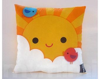 """16 x 16"""" Yellow Pillow, Decorative Pillow, Kawaii Print, My Little Sunshine, Kids Throw Pillow, Girls Room Decor, Nursery Room Pillow"""