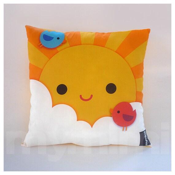 Throw Pillows 12 X 12 : 12 x 12 Yellow Pillow Decorative Pillow Kawaii Print