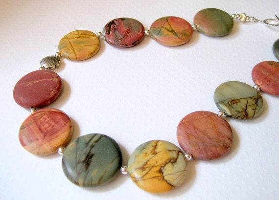 Red Creek Jasper Necklace, Semi Precious Stone, Sterling Silver