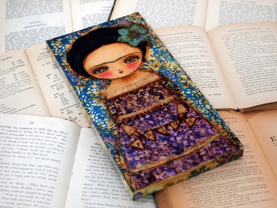 Frida In Purple - Original Mixed Media Collage Painting By Danita Art - 6x12 Inches On Wood Panel