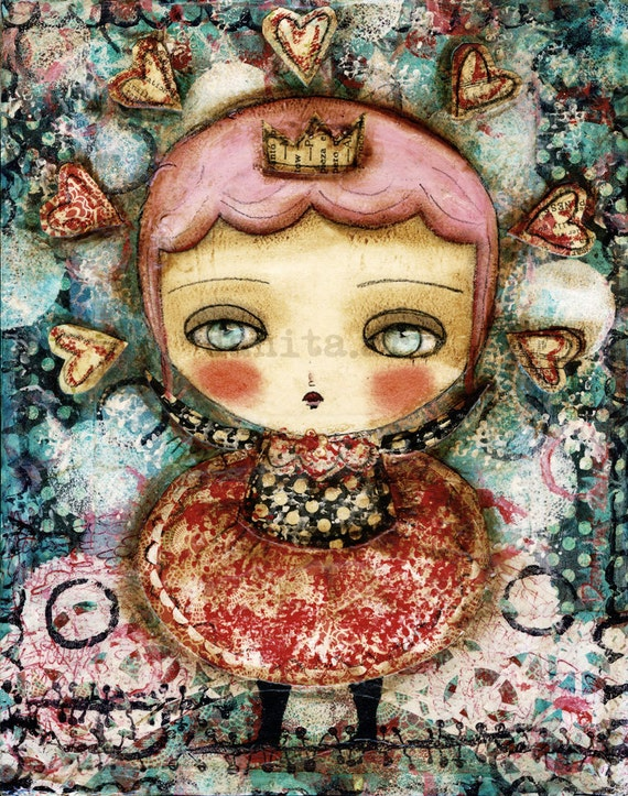 Hearts abound - Original Mixed Media Painting Collage By Danita Art 8x10 Inches On Deep Wood Panel