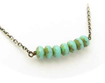Turquoise Necklace, Beaded Necklace, Chain Necklace, Faceted Blue Green Czech Glass Beads, Antiqued Goldtone, Hawaiibeads Hawaiian Jewelry