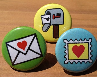 Postal Love set of 3 - buttons or magnets