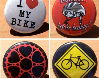 Bicycle set of 4 - Buttons or Magnets