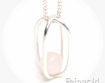 OCTOBER birth stone: Rose Quartz with Sterling Silver Necklace - Sterling Silver Chain- Free US Shipping