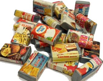 10pcs TINY RETRO FOODS 1970s Vintage Plastic Dollhouse Groceries