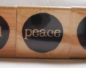 set of three holiday noel peace joy rubber stamps