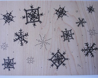 allover snowflake pattern large rubber stamp