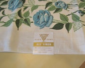 NWT Vintage Tablecloth - Victory K&B Hand Prints Brand Blue Rose Table Linen - Still has tags attached
