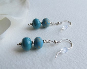 Jewelry,Dangle  Earrings, Lovely Blue Lampwork Beads, Sterling Silver, Smokeylady54