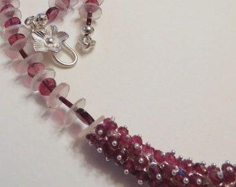 Rhodalite Garnet,  Rose Quartz and Sterling Silver Necklace, Smokeylady54