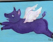 PURPLE Flying Pig in wild blue sky,  Original painting on mini canvas with Easel, When Pigs Fly