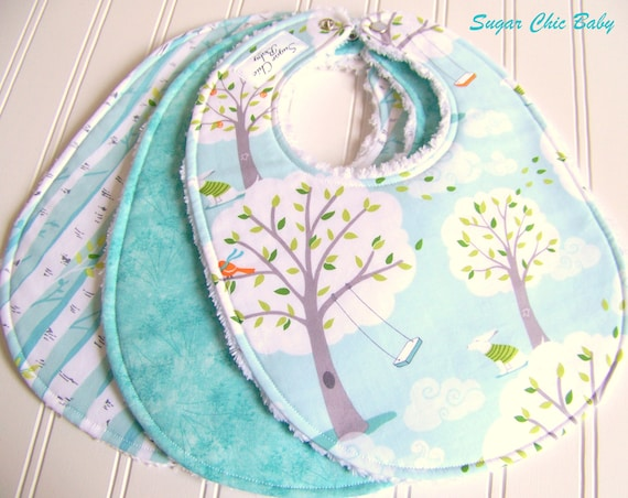 RESERVED FOR SARRA  -  Gender Neutral Baby Bibs  -  Set of 3 Triple Layer Chenille - Backyard Baby Windy Day, Dandelions & Birch Trees