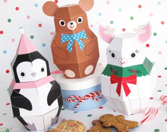 Teddy, Penguin and Reindeer Treat Boxes Printable Paper Christmas Crafts