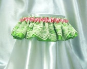 Cute and sexy Ashley garter - ivory lace with pink ribbon and lime green satin