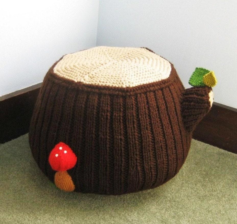 Knit Tree Stump Ottoman Pattern Digital Download