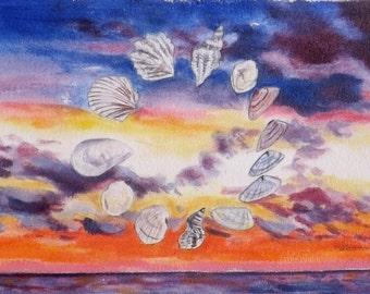 Sunset  Oil Painting on Paper Florida Sunrise Sea shell Circle Sky Clouds Ocean 5 x 7 Art original home decor