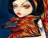 Phoenix Tattoo tribal firebird fairy art print by Jasmine Becket-Griffith 8x10