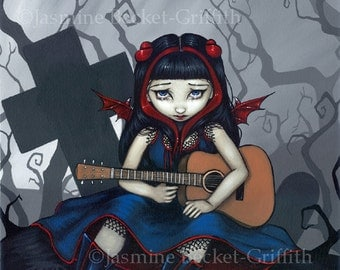 Sad, Sad Song cemetery guitar fairy art print by Jasmine Becket-Griffith 8x10