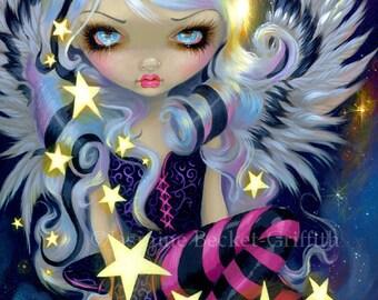 Angel of Starlight lowbrow stars goddess fairy art print by Jasmine Becket-Griffith12x16 BIG