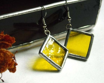 Yellow Diamond Shaped Stained Glass Earrings